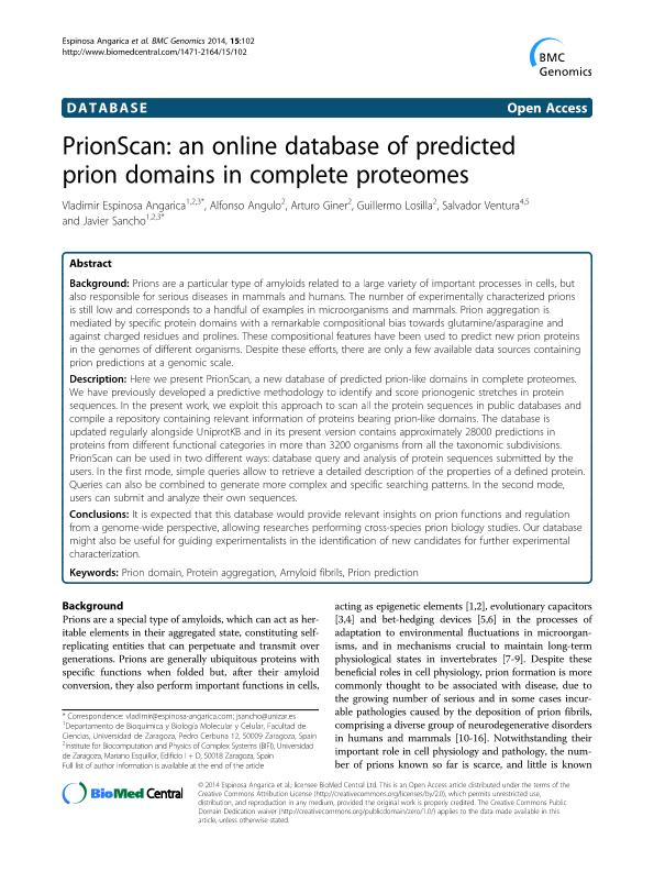 PrionScan: An online database of predicted prion domains in complete proteomes