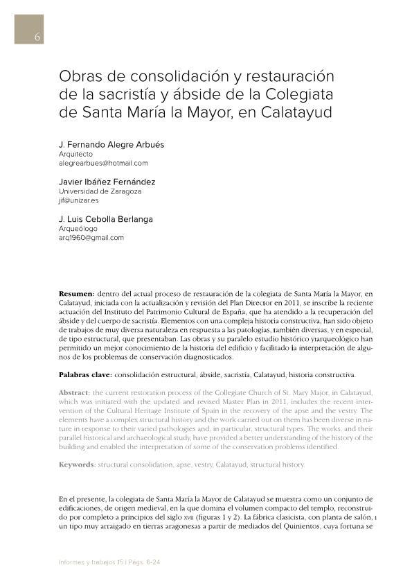 Obras de consolidación y restauración de la sacristía y ábside de la Colegiata de Santa María la Mayor, en Calatayud