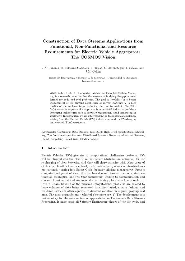 Construction of data streams applications from functional, non-functional and resource requirements for electric vehicle aggregators. the COSMOS vision
