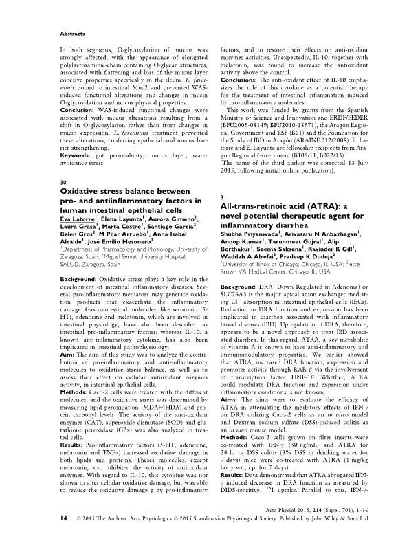 Oxidative stress balance between pro- and anti-inflammatory factors in human intestinal epithelial cells