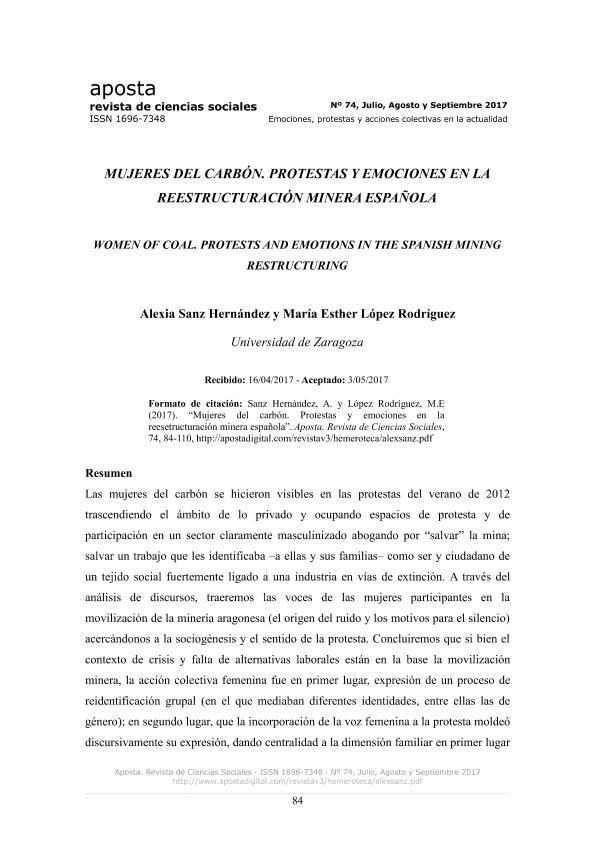 Mujeres del carbón. Protestas y emociones en la reestructuración minera española.
