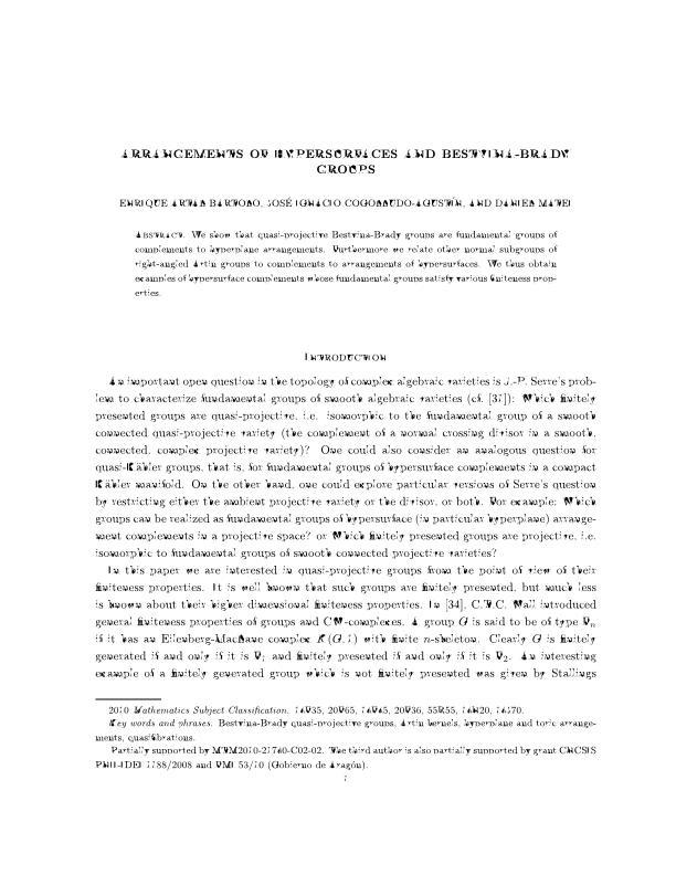 Arrangements of hypersurfaces and Bestvina-Brady groups
