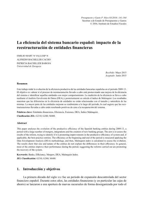 La eficiencia del sistema bancario español: impacto de la reestructuración de entidades financieras