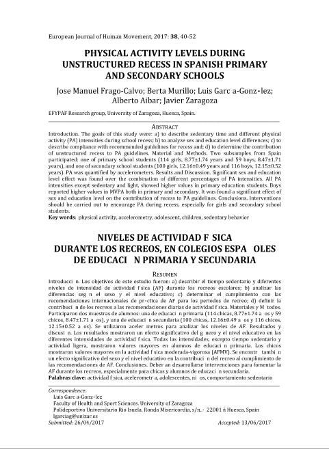 Physical activity levels during unstructured recess in Spanish primary and secondary schools