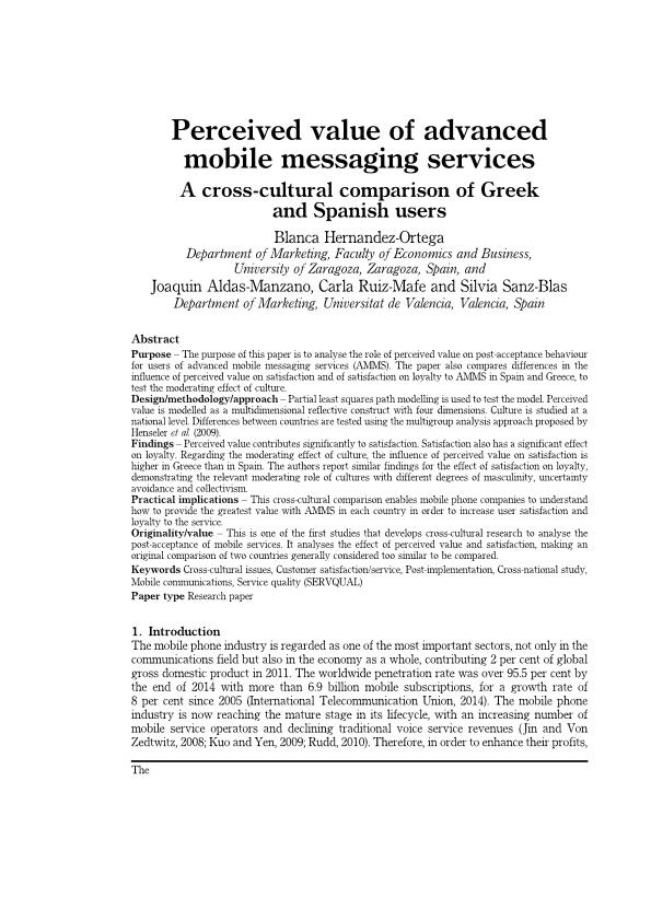Perceived value of advanced mobile messaging services: A cross-cultural comparison of Greek and Spanish users