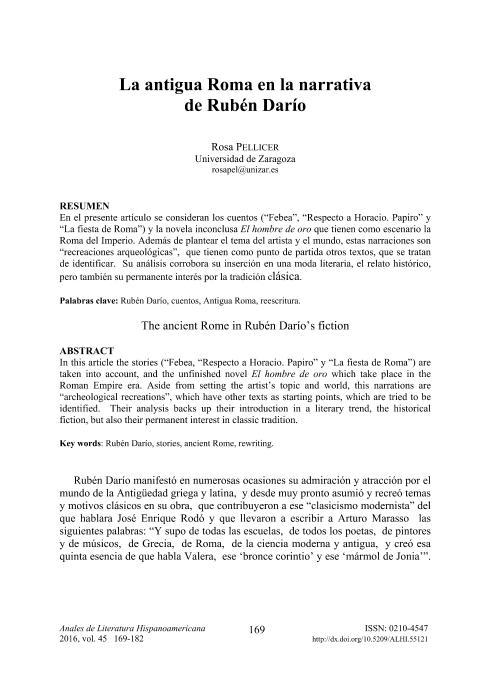La antigua Roma en la narrativa de Rubén Darío