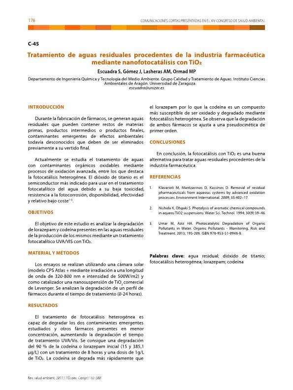 Tratamiento de aguas residuales procedentes de la industria farmacéutica mediante nano-fotocatálisis con TiO2