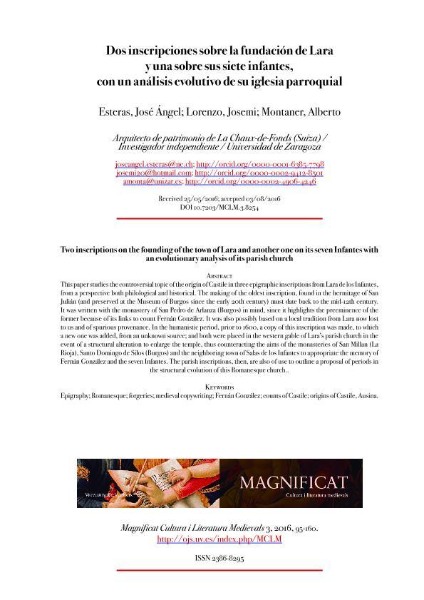 Dos inscripciones sobre la fundación de Lara y una sobre sus Siete Infantes, con un análisis evolutivo de su iglesia parroquial