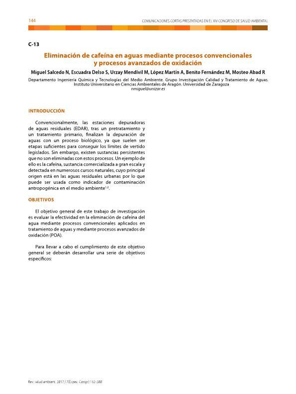Eliminación de cafeína en aguas mediante procesos convencionales y procesos avanzados de oxidación