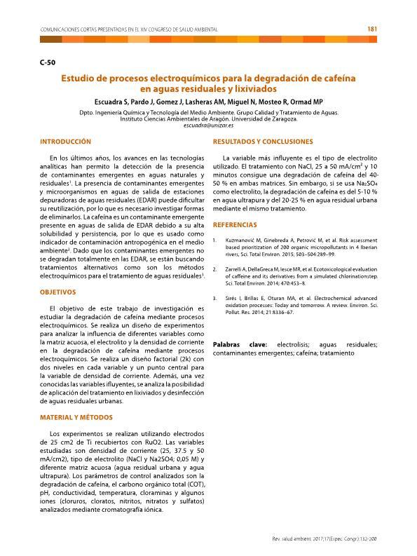 Estudio de procesos electroquímicos para la degradación de cafeína en aguas residuales y lixiviado