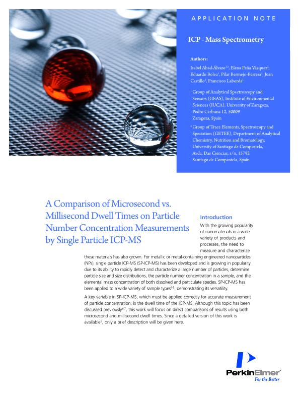 A comparison of microsecond vs. millisecond dwell times on particle number concentration measurements by single particle ICPMS