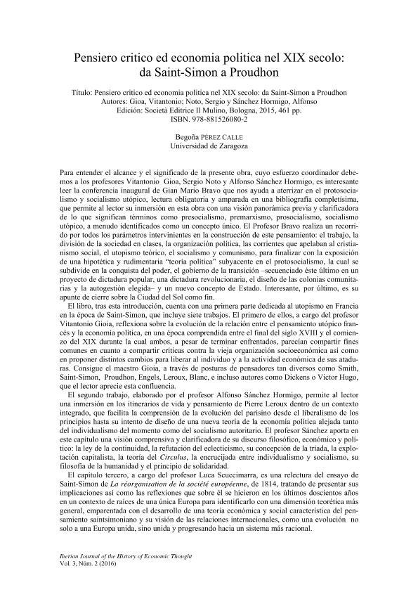 Pensiero critico ed economía política nel XIX secolo: da Saint-Simon a Proudhon