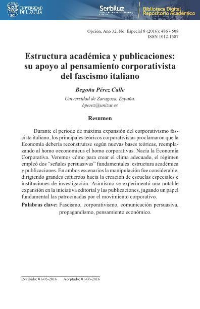 Estructura académica y publicaciones: su apoyo al pensamiento corporativista del fascismo italiano