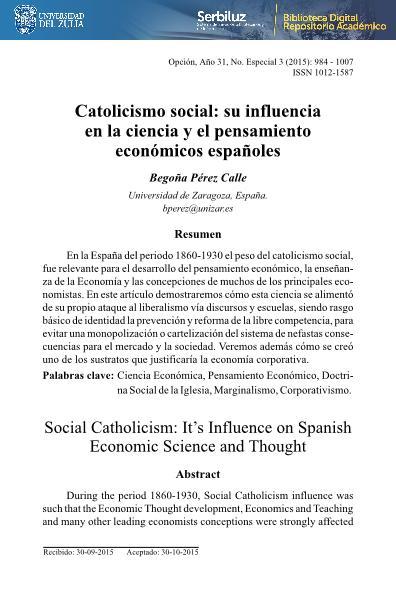 Catolicismo social: su influencia en la ciencia y pensamiento económicos españoles