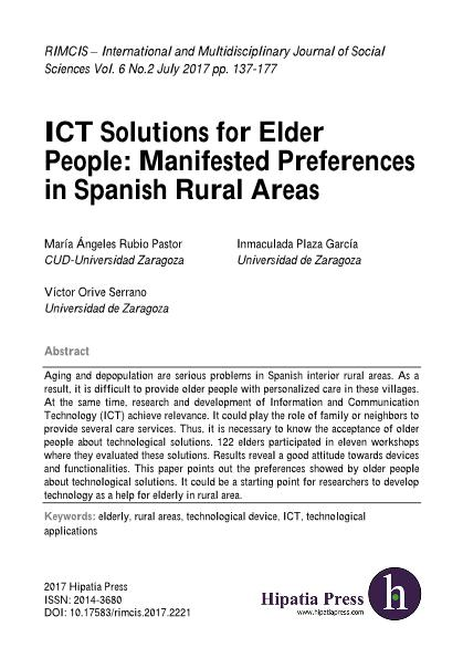 ICT Solutions for Elder People: Manifested Preferences in Spanish Rural Areas