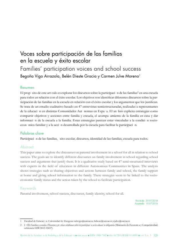 Voces sobre participación de las familias en la escuela y éxito escolar