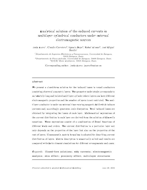Analytical solution of the induced currents in multilayer cylindrical conductors under external electromagnetic sources