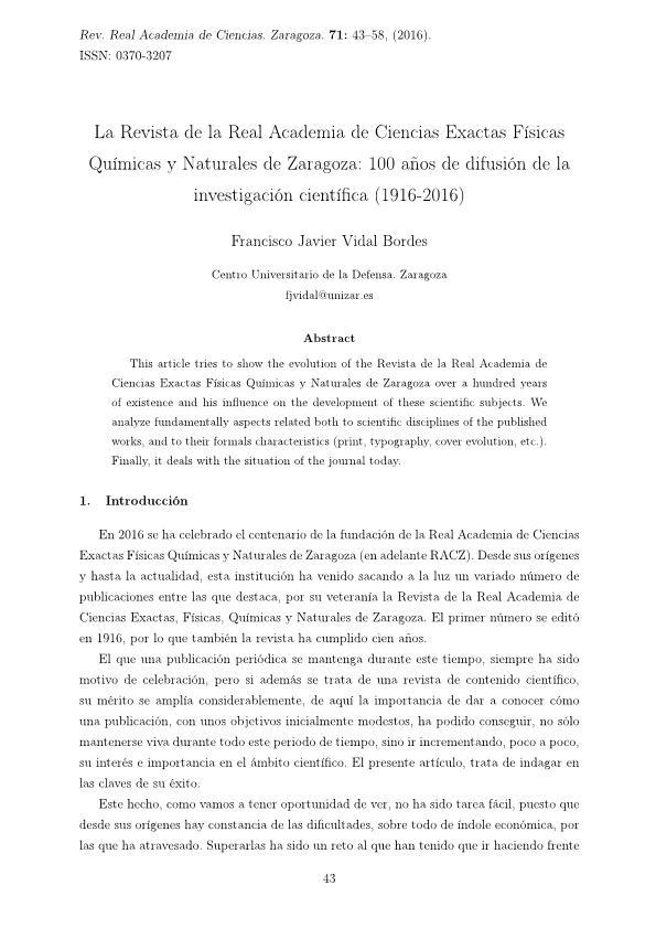 La Revista de la Real Academia de Ciencias Exactas Físicas Químicas y Naturales de Zaragoza: 100 años de difusión de la investigación científica (1916-2016)