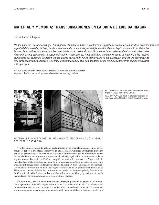 Material y memoria: transformaciones en la obra de Luis Barragán