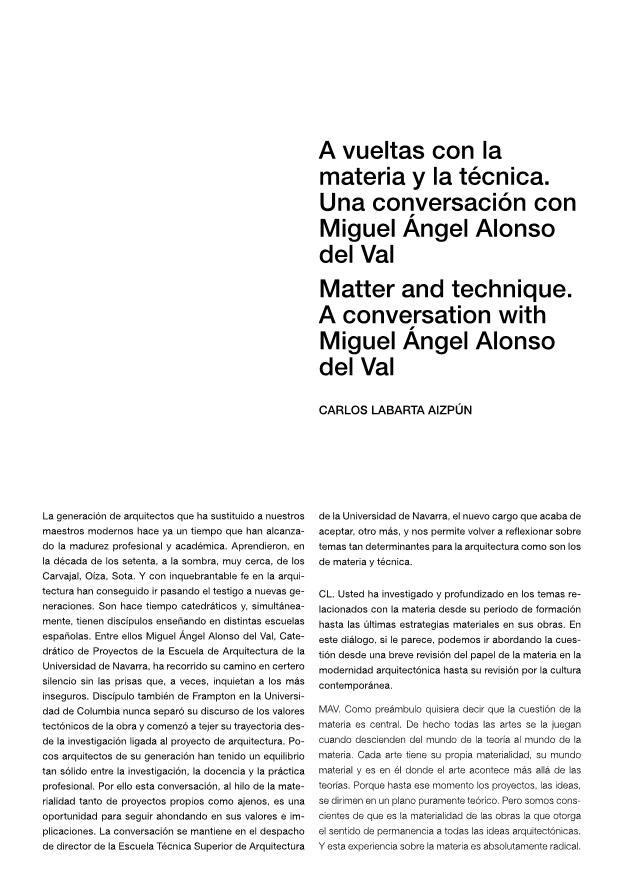 Matter and technique. A conversation with Miguel Ángel Alonso del Val