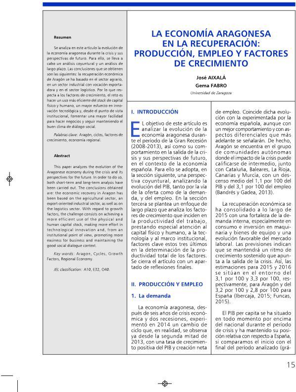 La economía aragonesa en la recuperación: producción, empleo y factores de crecimiento