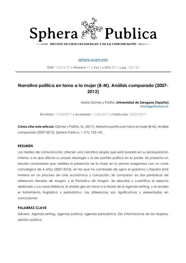 Narrativa política en torno a la mujer (8-M). Análisis comparado (20072013) - Political narrative on women (8th-M). Comparative analysis (2007-2013)