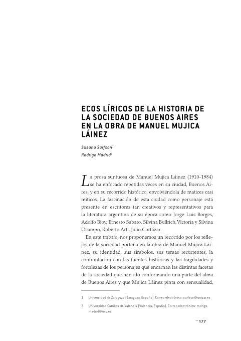 Ecos líricos de la historia de la sociedad de Buenos Aires en la obra de Manuel Mujica Láinez