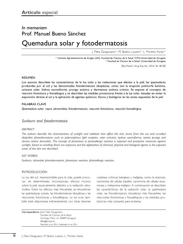 Quemadura solar y fotodermatosis