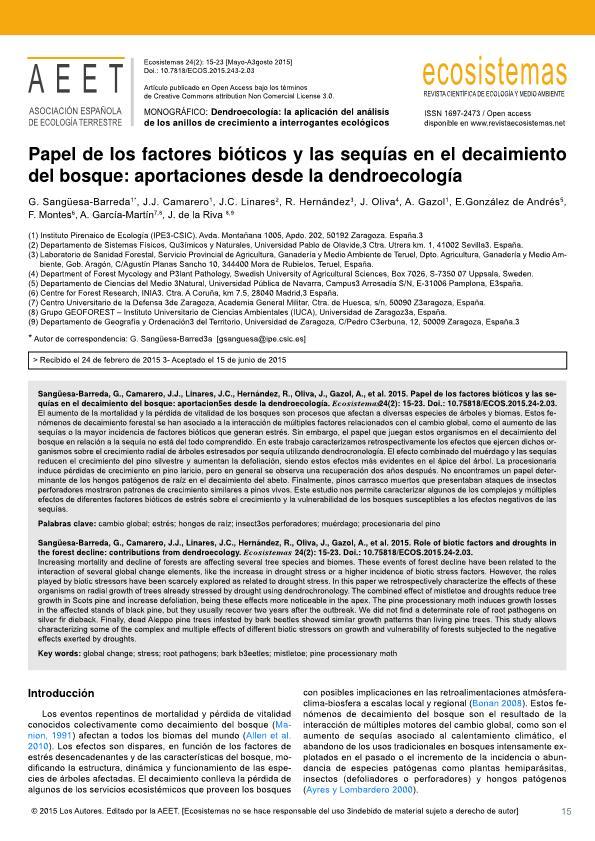Papel de los factores bióticos y las sequías en el decaimiento del bosque: aportaciones desde la dendroecología