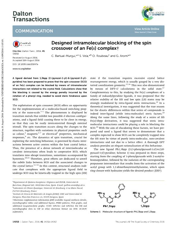 Designed intramolecular blocking of the spin crossover of an Fe(II) complex