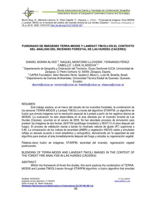 Fusionado de imágenes TERRA-MODIS y Landsat-TM/OLI en el contexto del análisis del incendio forestal de Las Hurdes (Cáceres)