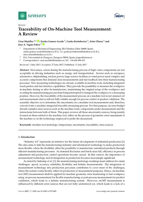 Traceability of on-machine tool measurement: a review