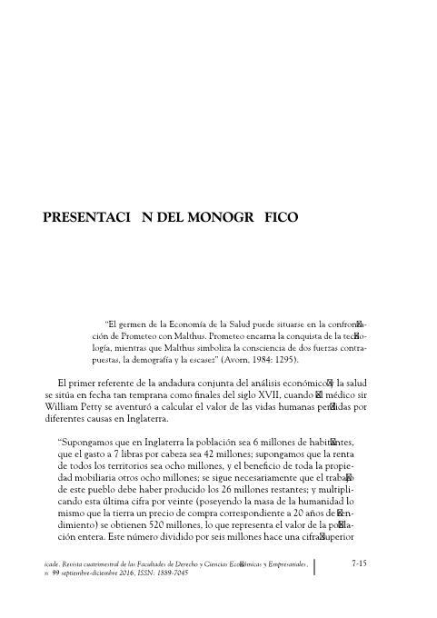 Presentación del monográfico