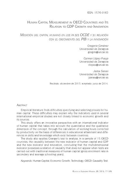 Human capital measurement in OECD countries and its relation to GDP growth and innovation