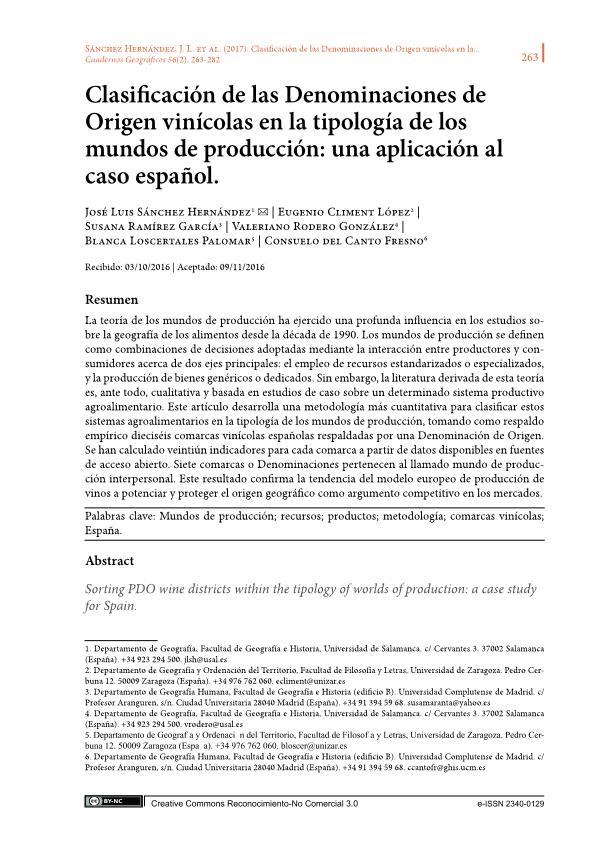 Clasificación de las Denominaciones de Origen vinícolas en la tipología de los mundos de producción: Una aplicación al caso español