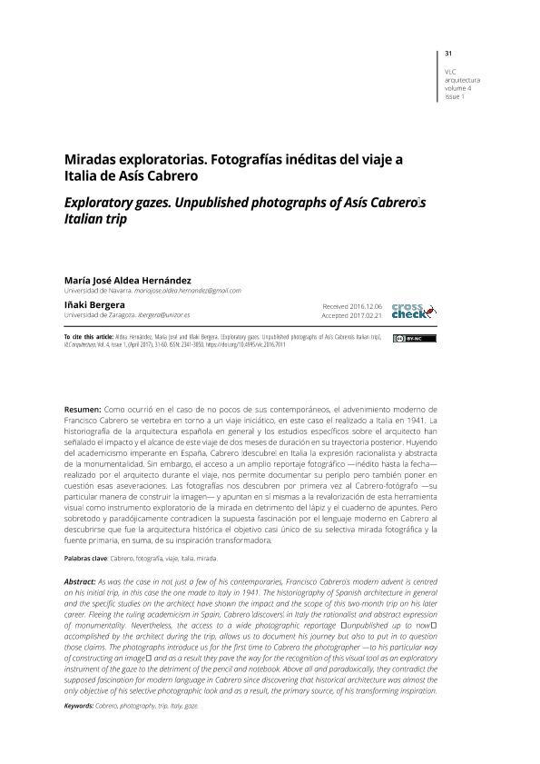 Miradas exploratorias. Fotografías inéditas del viaje a Italia de Asís Cabrero / Exploratory gazes. Unpublished photographs of Asís Cabrero's Italian trip