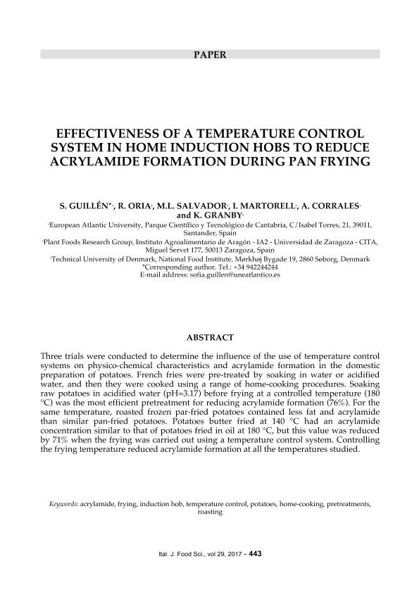 Effectiveness of a temperature control system in home induction hobs to reduce acrylamide formation during pan frying