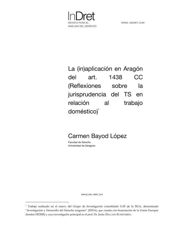 La (in)aplicación en Aragón del art. 1438 Cc (Reflexiones sobre la jurisprudencia del TS en relación al trabajo doméstico)