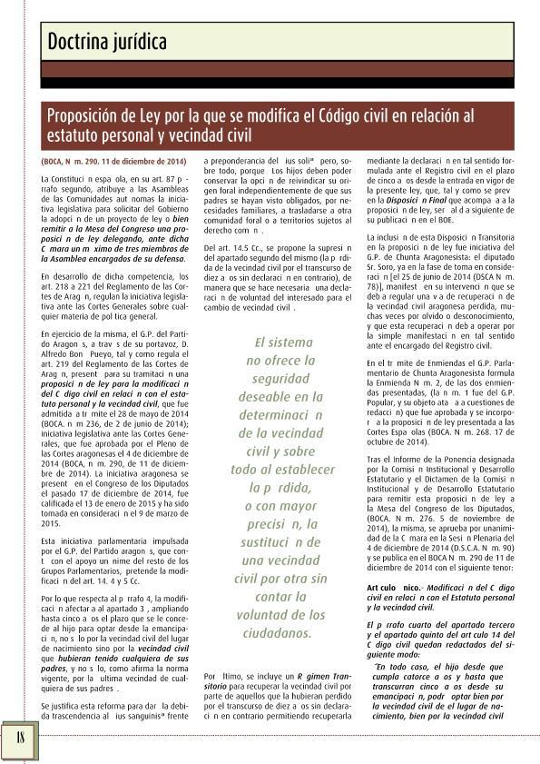 Proposición de Ley por la que se modifica el Código civil en relación al estatuto personal y vecindad civil