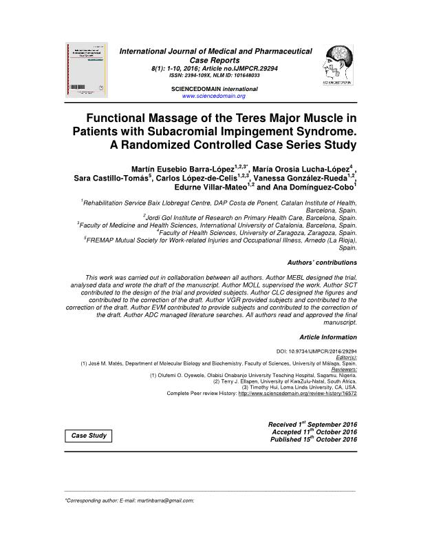 Functional Massage of the Teres Major Muscle in Patients with Subacromial Impingement Syndrome. A Randomized Controlled Case Series Study.