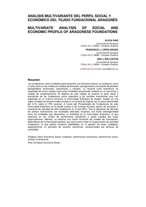 Análisis multivariante del perfil social y económico del tejido fundacional aragonés