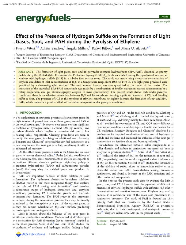 Effect of the presence of hydrogen sulphide on the formation of light gases, soot and PAH during the pyrolysis of ethylene