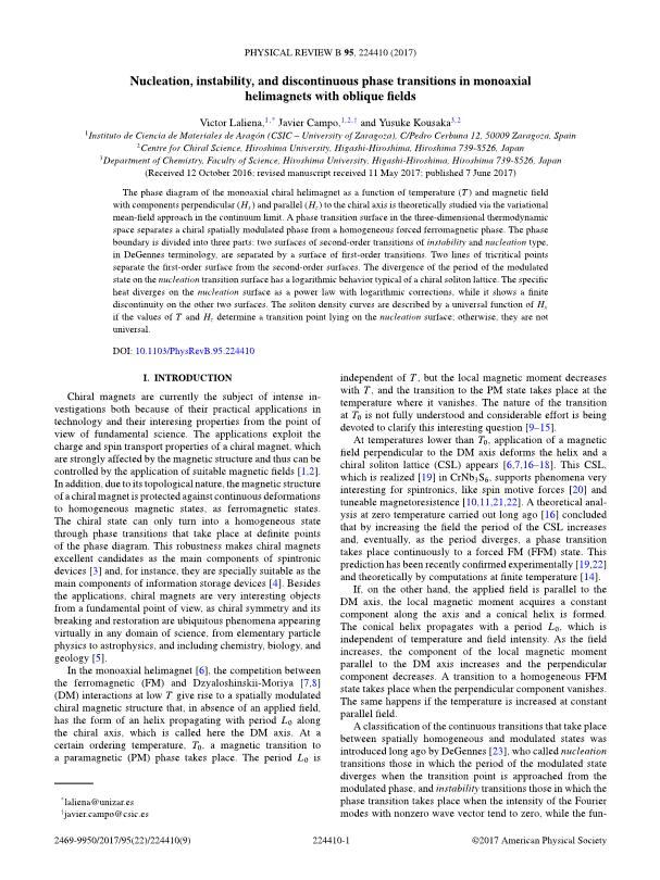 Nucleation, instability, and discontinuous phase transitions in monoaxial helimagnets with oblique fields