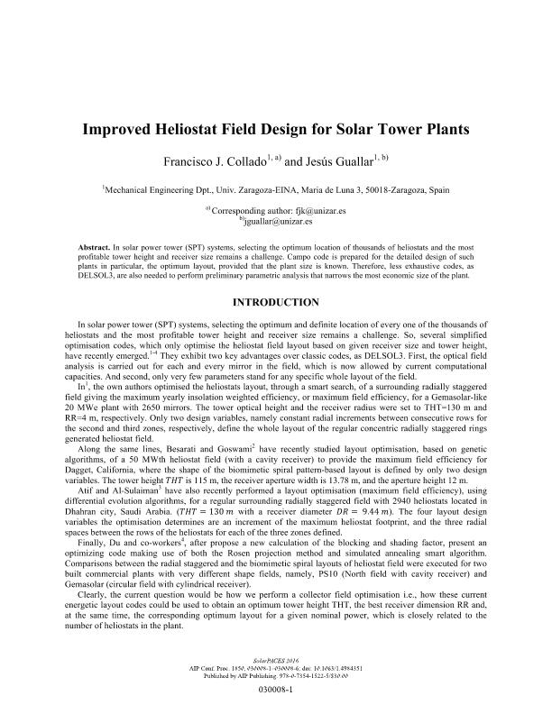 Improved heliostat field design for solar tower plants