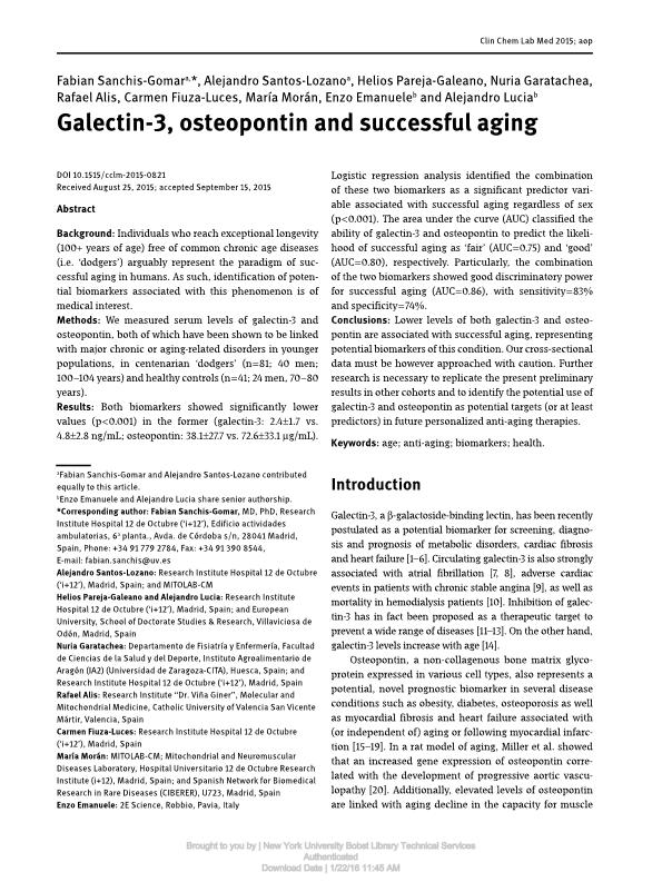 Galectin-3, osteopontin and successful aging