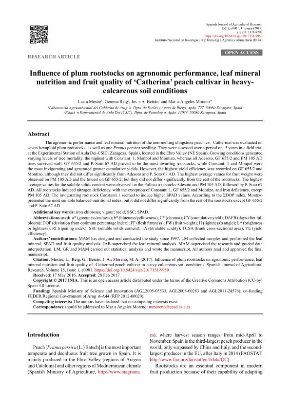 Influence of plum rootstocks on agronomic performance, leaf mineral nutrition and fruit quality of 'catherina' peach cultivar in heavy-calcareous soil conditions