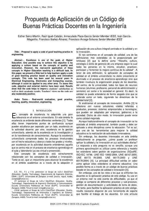 Propuesta de Aplicación de un Código de Buenas Prácticas Docentes en la Ingeniería