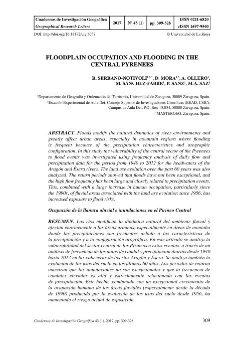 Floodplain occupation and flooding in the Central Pyrenees