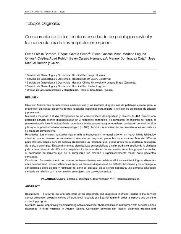Comparación entre las técnicas de cribado de patología cervical y las conizaciones de tres hospitales en españa