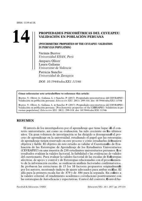 Propiedades psicométricas del CEVEAPEU: Validación en población peruana